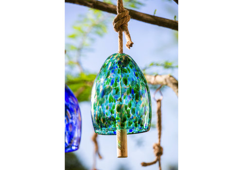 Turquoise Art Glass Speckle Bell Chime