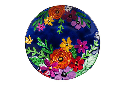 """Bright Florals Hand Painted Embossed Glass Bird Bath 18"""""""