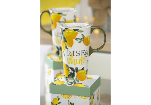 Rise & Shine Lemon Drop Ceramic Travel Cup 17oz