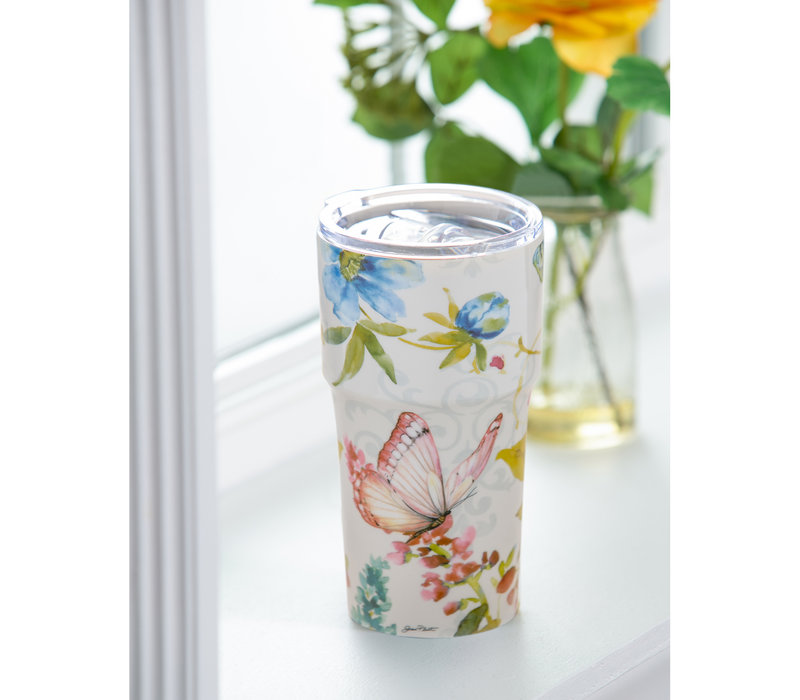 Garden Bliss Double Wall Ceramic Companion Cup 13oz
