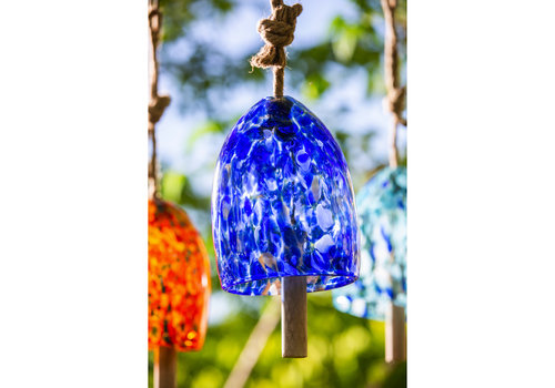 Deep Blue Art Glass Speckle Bell Chime