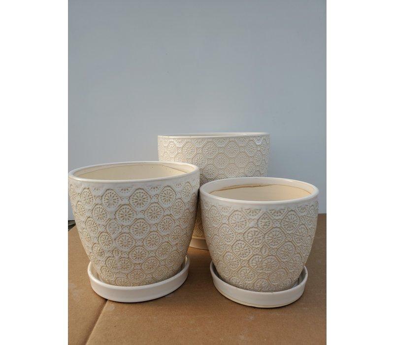 Ceramic Pot With Saucer Antique White Flower