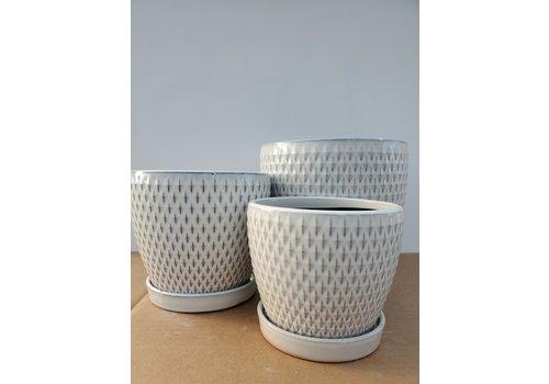 Dutch Growers Ceramic Pot With Saucer Blue/White Diamond