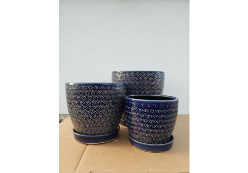 Dutch Growers Ceramic Pot With Saucer Cobalt Blue Prism