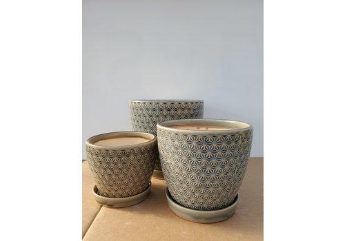 Dutch Growers Ceramic Pot With Saucer Grey Prism