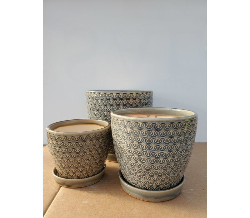 Ceramic Pot With Saucer Grey Prism