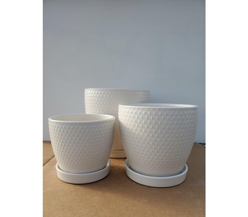 Ceramic Pot With Saucer White Diamond