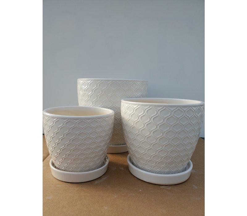 Ceramic Pot With Saucer White Lattice