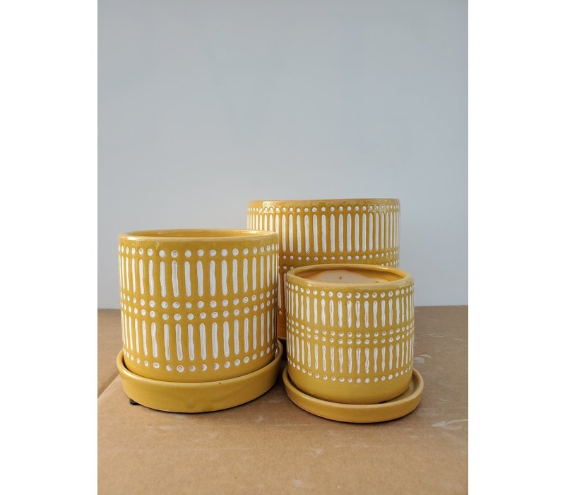 Ceramic Pot With Saucer Yellow Lines