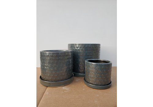 Dutch Growers Ceramic Pot With Saucer Dark Grey Prism
