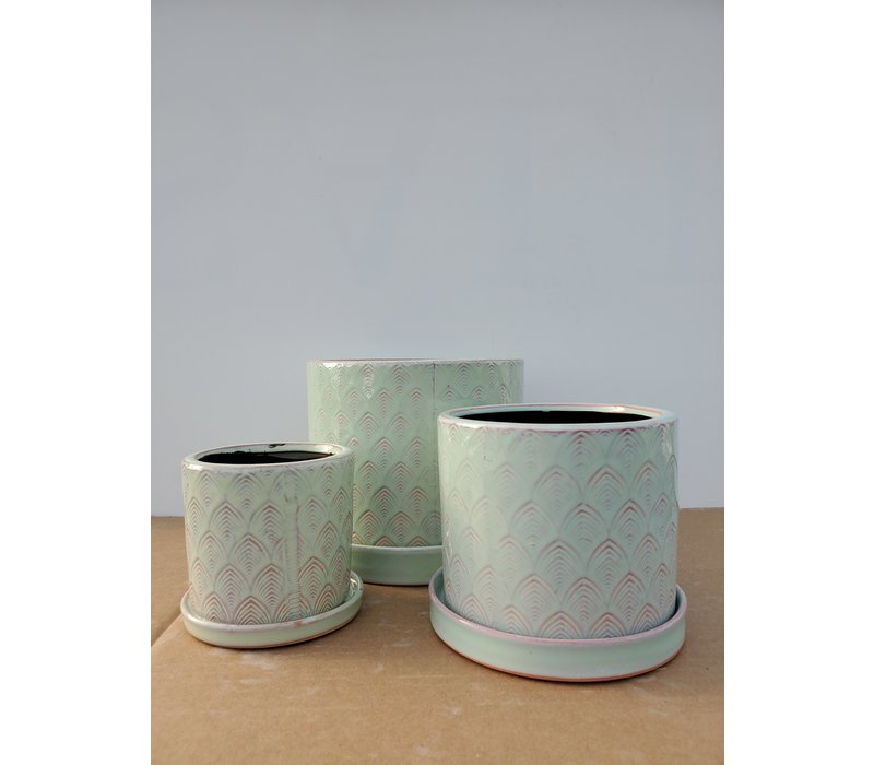 Ceramic Pot With Saucer Green Feather