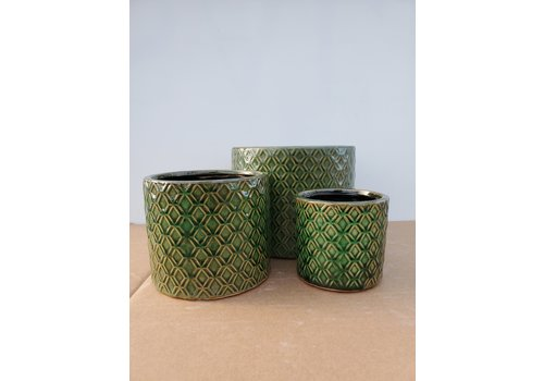 Dutch Growers Ceramic Pot Dark Green Links