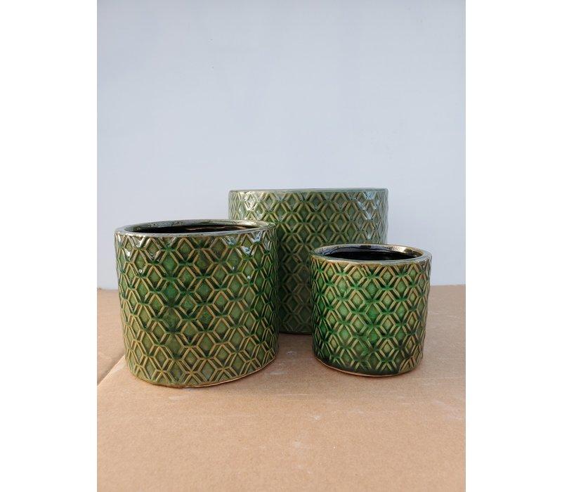 Ceramic Pot Dark Green Links