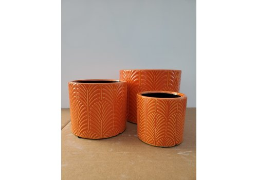 Dutch Growers Ceramic Pot Orange Leaf