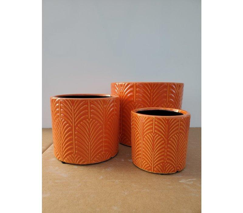 Ceramic Pot Orange Leaf