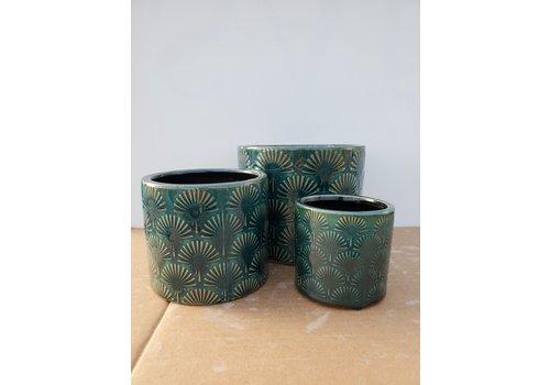 Dutch Growers Ceramic Pot Blue Fan Embossed