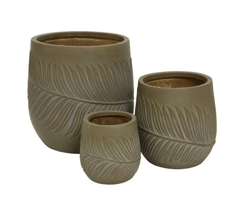 Fiberclay Pot With Leaf Design