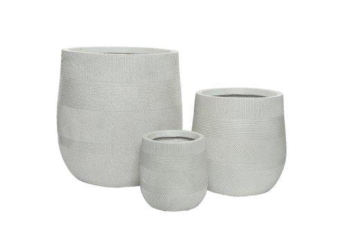 Fiberclay Pot With Lines Design