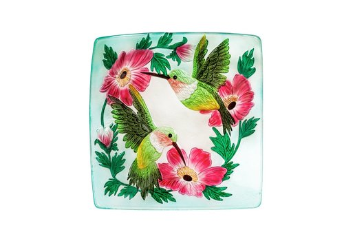 Hummingbird Duo Hand Painted Embossed Glass Square Bird Bath 16.5""