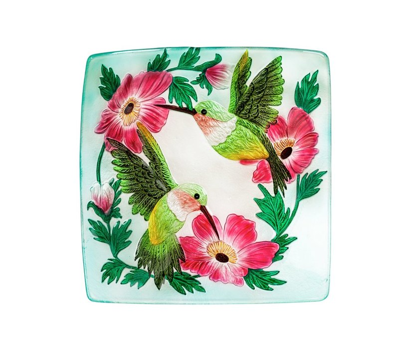 "Hummingbird Duo Hand Painted Embossed Glass Square Bird Bath 16.5"""