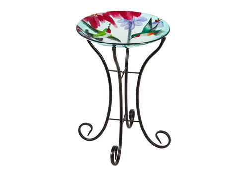 Glass Bird Bath With Stand Busy Hummingbirds 16""