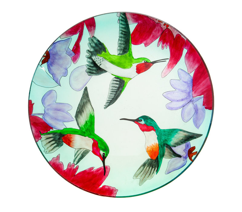 "Glass Bird Bath With Stand Busy Hummingbirds 16"""