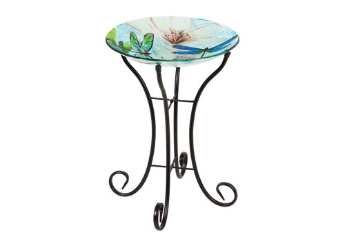 Glass Bird Bath With Stand Resting Dragonfly 16""