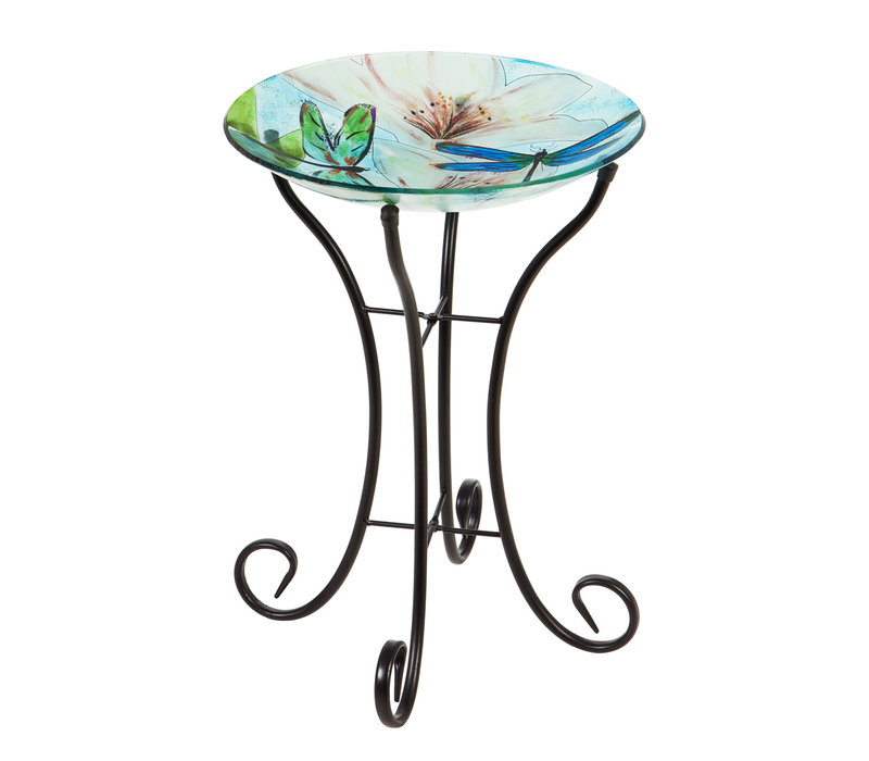 """Glass Bird Bath With Stand Resting Dragonfly 16"""""""