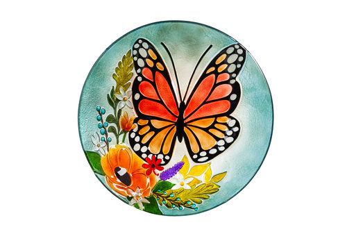 "Florals and Monarch Butterfly Glass Birdbath 18"""