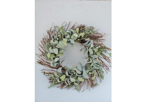 Glenhaven Home & Holiday Lamb Ear/Pussy Willow Wreath 26""