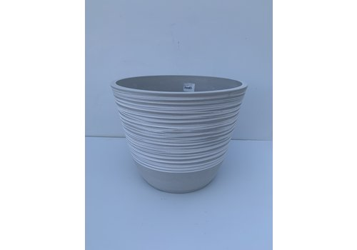 "Glenhaven Home & Holiday Ribbed Plastic Pot White Stone 14""x11"""