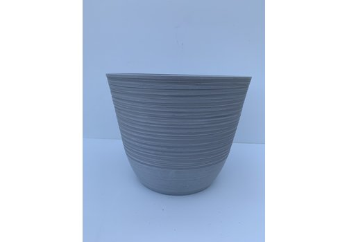 "Glenhaven Home & Holiday Ribbed Plastic Pot Light Grey 14""x11"""
