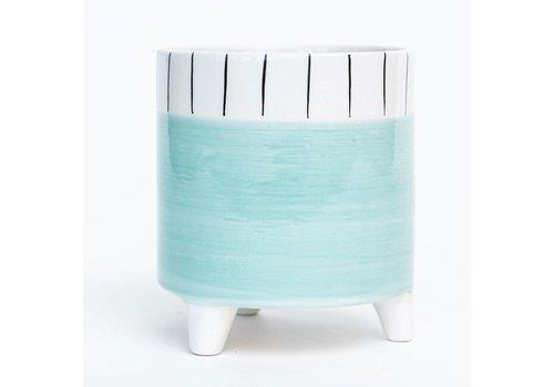 Aqua Footed Dolomite Pot Striped Rim
