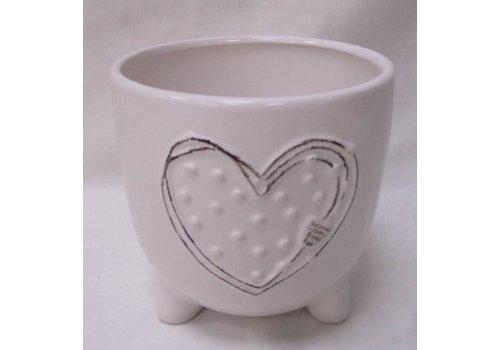"""Heart Design White Dolomite Pot 4.5"""""""