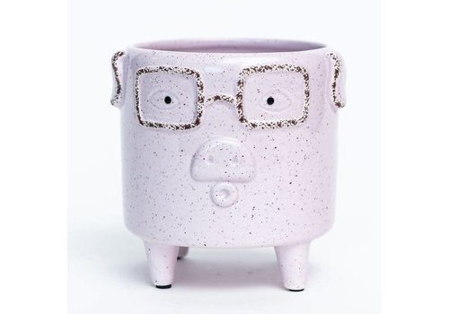 """Pink Pig Footed Dolomite Pot 4.5""""x5"""""""