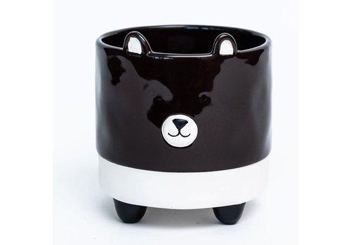 "Puppy Black Glazed Footed Dolomite Pot 4.5""x5"""