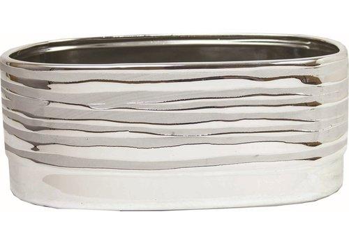 """Modern Silver Dolomite Pot 8""""x4.25""""x3"""""""