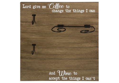 Mug & Wine Glass Holder Plaque Lord Give Me Coffee