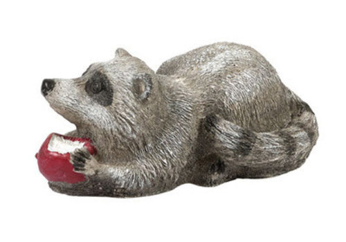 Athens Stonecasting Inc Raccoon Apple Statue