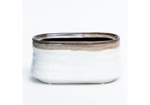 """Drip Glazed Stoneware Pot 8""""x3"""""""