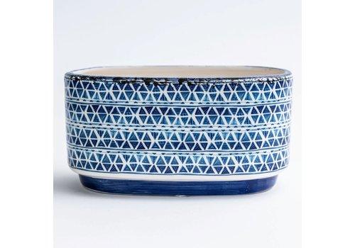 "Mediterranean Blue Patterned Dolomite pot 8""x4"""