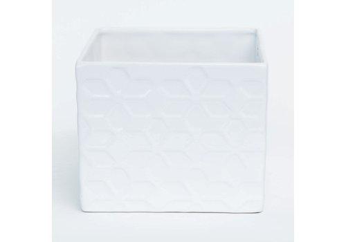 "White Glazed Geometric Floral Design Dolomite Pot 7""x5.5"""