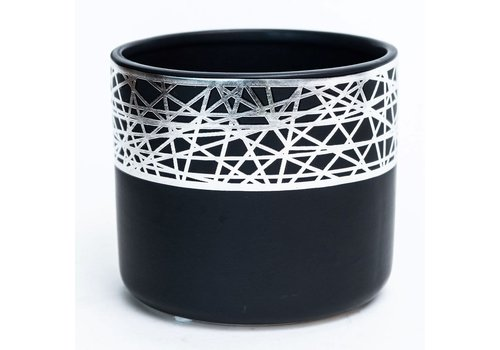 Black/Silver Plated Dolomite Pot
