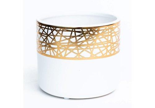 White/Gold Plated Dolomite Pot