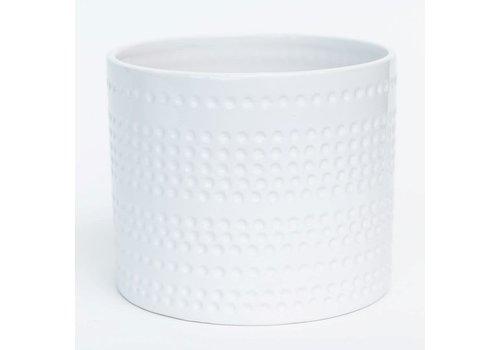 """Shiny White Dolomite Pot Dotted Stripes 6.5""""x5.5"""""""
