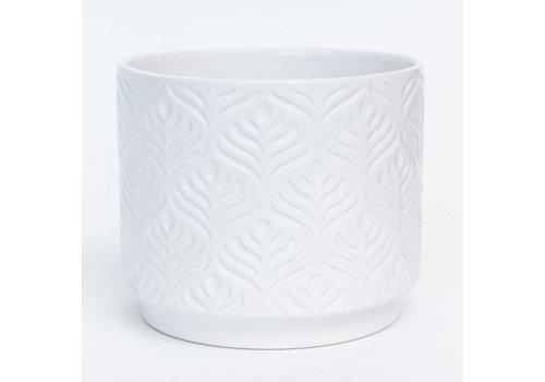"""White Glazed Peacock Feather Design Dolomite Pot 6.5""""x5.5"""""""