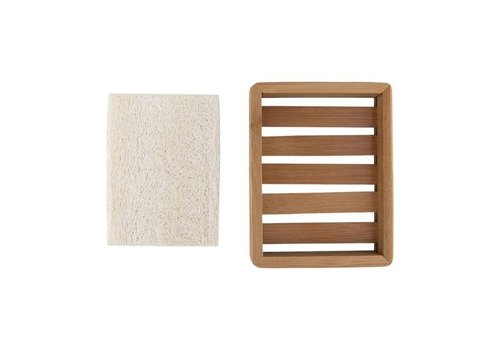 Relaxus Products Bamboo Soap Tray With Loofah Pad