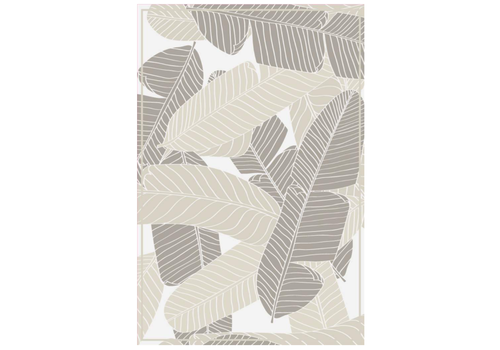 Leaves Rectangle Vinyl Mat Grey/Brown