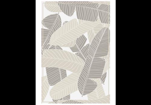 Leaves Rectangle Vinyl Mat Grey/Brown