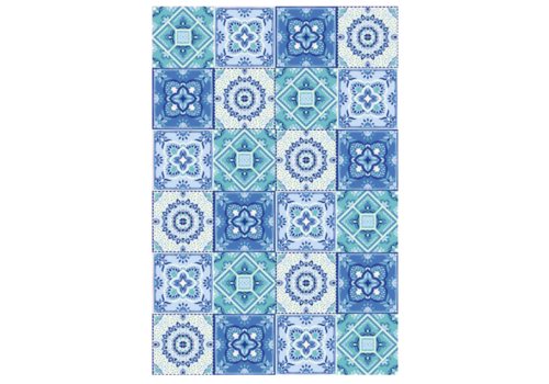 Blue Patchwork Rectangle Vinyl Mat